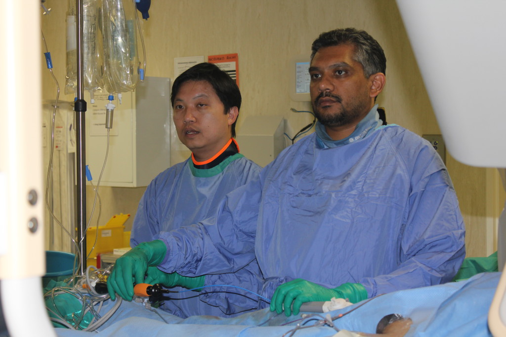 Dr Gopal andProf Ng in the EP lab