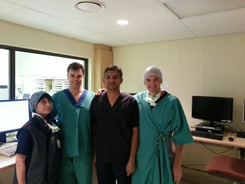 Dr. R. Gopal, Dinky Proos (Radiographer) and Dr. Dieter Nuyens , Dr. Tom Rossenbacker (Visiting electrophysiologists – Belgium)