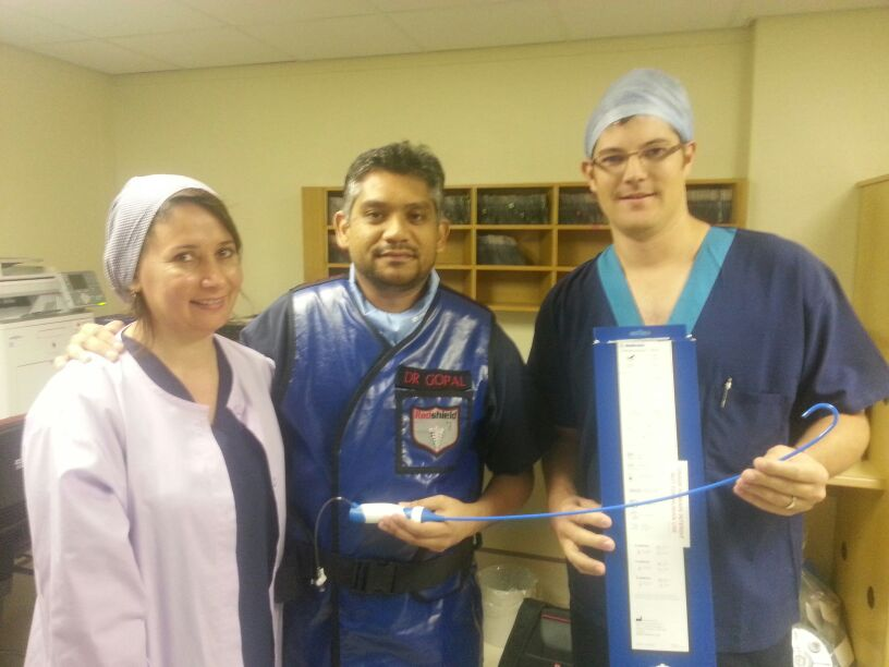 Marion Brummer (Radiographer), Dr. R. Gopal and Carl Rossouw (Medtronic) – Our first Cryo Flex Advance Sheath
